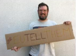 Oliver Taylor of Arnold with his sign