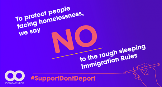 Homeless Link Support Don't Deport pledge