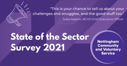 """State of the Sector survey 2021 - """"This is your chance to tell us about your challenges and struggles, and the good stuff too"""" (quote from Jules Sebelin, NCVS Chief Executive Officer)"""