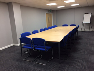 View of Blue Room in boardroom style