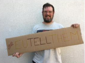 Oliver Taylor of Arnold with his #EUTellThem sign