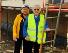 Jill Davies and Pauleen Davies at the site of the new build