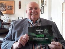 Trevor Clower with his Lifetime Achievement Award