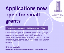 Nottingham Women's Centre's Small Grants Fund opens